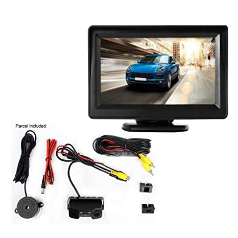 WEPECULIOR Pantalla TFT LCD DE 4.3 Pulgadas a Color con Pantalla retrovisora FPV HD con 3