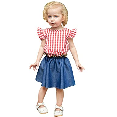 a871d54e42fc5 Amazon.com: Toddler Baby Girls Kids 2019 Summer Clothes Outfit Cuekondy Fly  Sleeve Plaid Tops T-Shirt+Denim Skirt Set 1-4 Years Old: Clothing