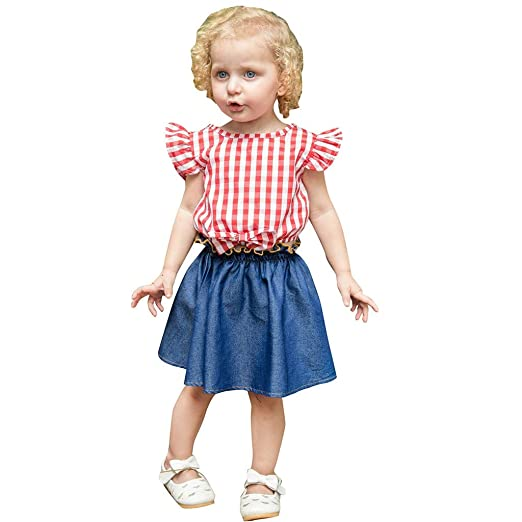 99c41020768b Matoen Children's Baby Girls Fly Sleeve Plaid Print Bow Tops T-Shirt +Denim  Skirt