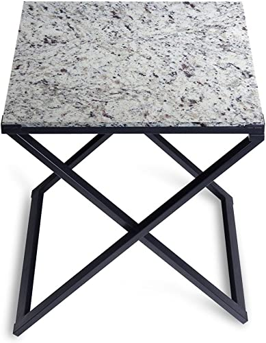 SLEEPLACE Granite Top Side, White Black coffee Table, White