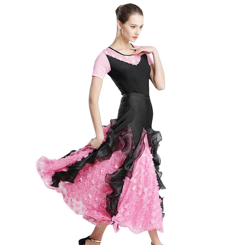 高品質な社交ダンス衣装 トップスとスカート2点セット 半袖 エレガント モダンダンス衣装 スタンダード ワルツ フラメンコ衣装 練習 競技 デモ演出服 B07D5Z5WJT  ピンク XL