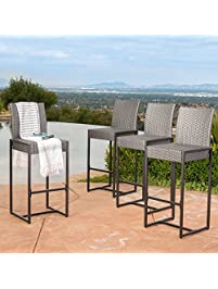 4 pieces patio bar stool square seat with full back style made of wicker in gray
