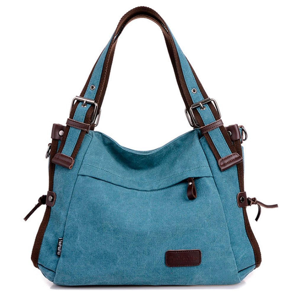 Retro Hobo Style Women's Canvas Casual Handbag Shoulder Bag Messenger Bag Blue