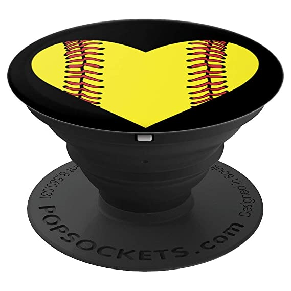 best service 5e7b9 6ec28 PopSockets Brave New Look Softball Heart PopSockets Cell Phone Stand for  Smartphone/Tablet - PopSockets Grip and Stand for Phones and Tablets