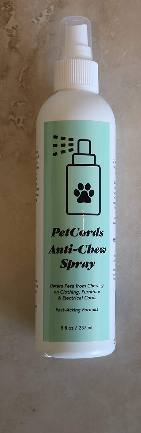 PetCords Anti Chew Pet Repellent Spray, All-Natural Anti Chew Remedy, Spray for Dogs & Puppies Cats & Kittens - Training Treatment & Powerful Anti Chew Spray - Alcohol Free & Non Toxic, Made in USA