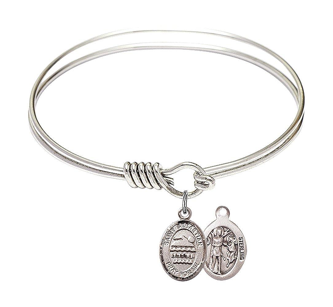 Sebastian//Swimming in Sterling Silver Bonyak Jewelry Round Eye Hook Bangle Bracelet w//St