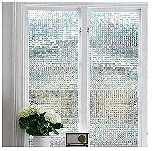 Vakker Bahay No Glue Bathroom Vinyl Static Cling 3D Mosaic Window Film -