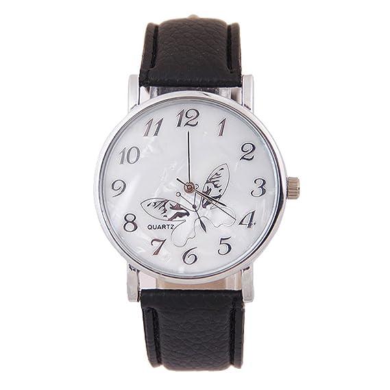 Relojes Analogicos Banda En Relieve Mariposa Relojes De Señora Negro: Amazon.es: Relojes