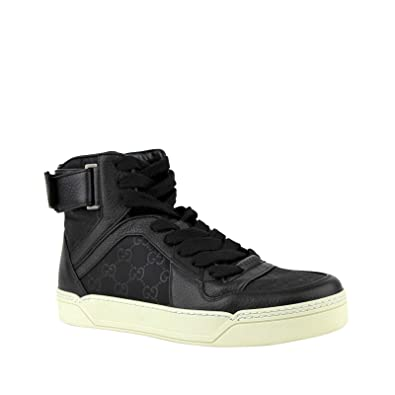 0347bb8eec65 Gucci Guccissima Pattern Black Leather/Nylon Hi Top Sneaker with Leather  Trim 409766 1000 (