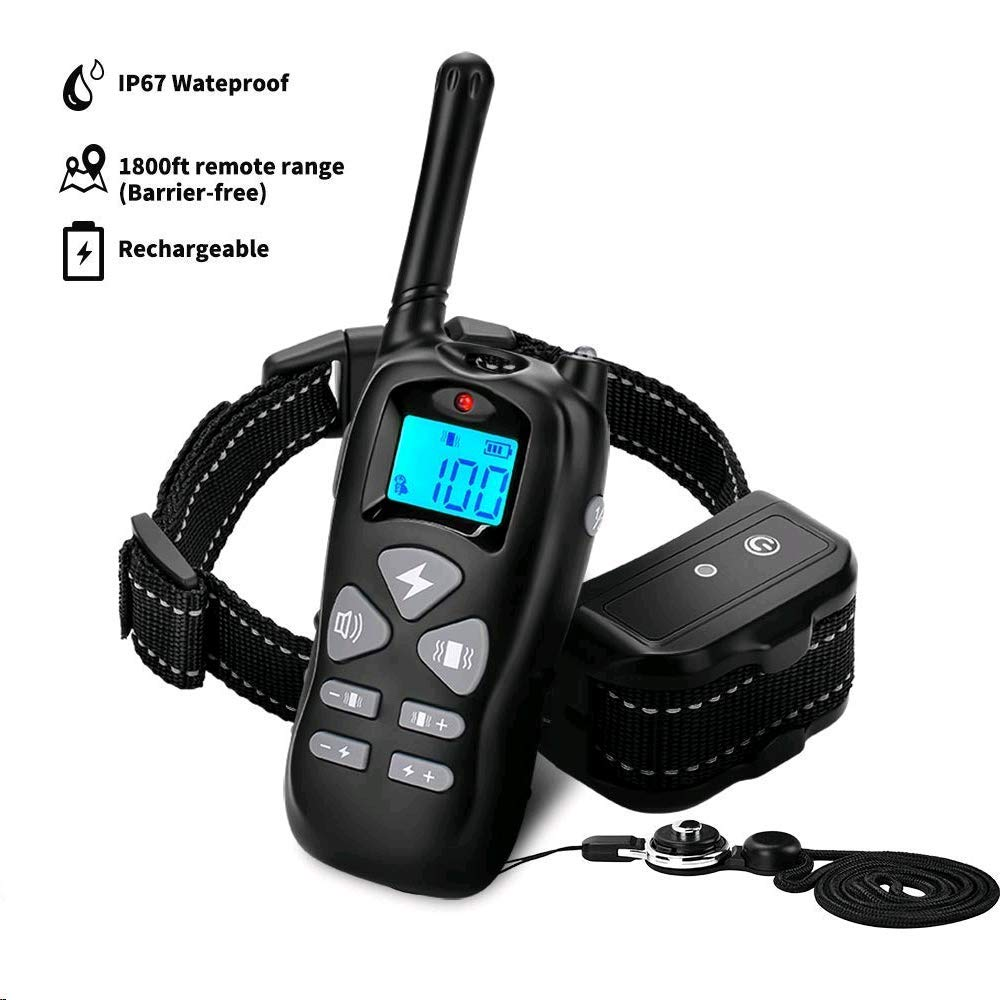 Petoffers Dog Training Collar with Remote, Rechargeable Waterproof Dog Shock Collar w/Beep Vibration Shock Training Collar for Small Medium Large Dogs, Up to 1800Ft Remote Range, 0~99 Shock Levels