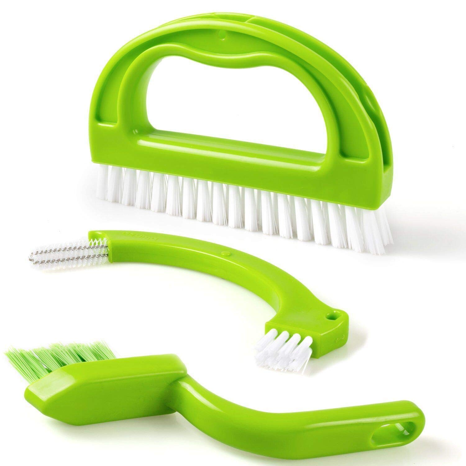 Tile Brushes Grout, Tinabless 3 in 1 Joint Brush Deep Cleaning for Bathroom & Kitchen, Grout Cleaning Brush (Green)