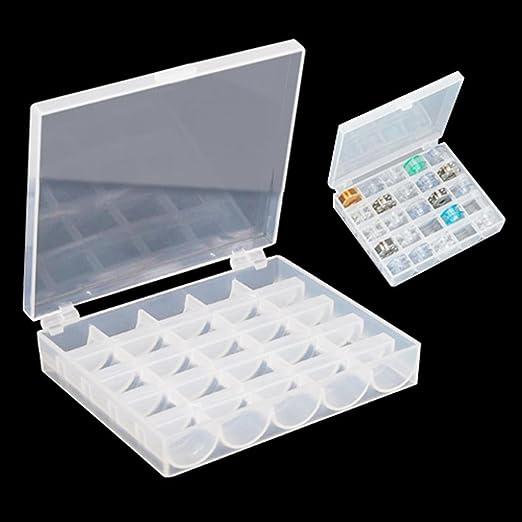 Caja de almacena para Bolillos Bobinas Canillas Vacías para Máquina de Coser PlásticoTransparente: Amazon.es: Hogar