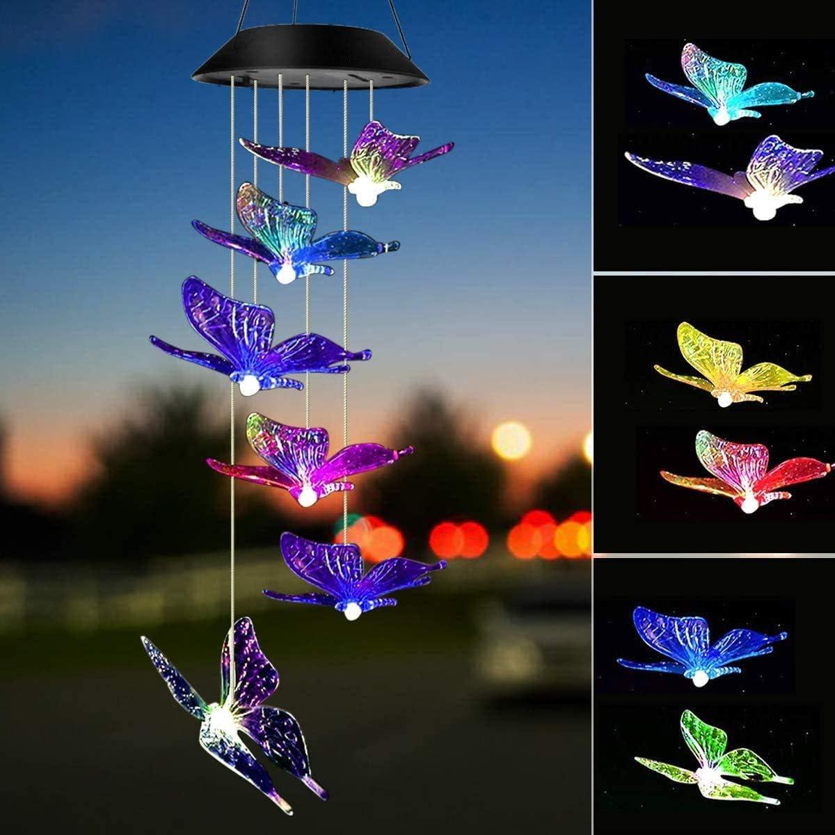 Campanelli eolici solari a Farfalla campanelli a Vento a LED Impermeabili per Esterni mobili Che cambiano Colore Luce Colorata ad energia Solare per la casa