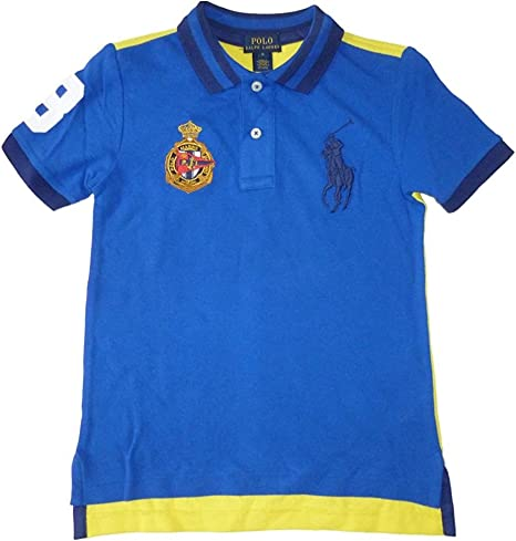 Ralph Lauren Niños Polo Camiseta de Royal Azul Amarillo con Big Pony Polo Logo Jinete 122: Amazon.es: Bebé
