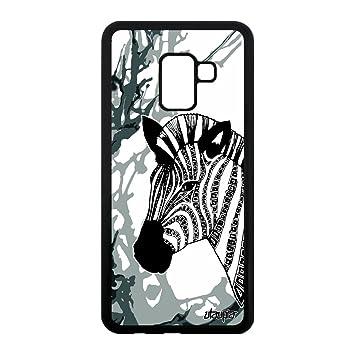 Coque A8 2018 silicone zebre tatouage Gris cheval safari azteque Samsung  Galaxy A8 2018