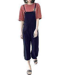 StyleDome Donna Tuta Tasche Jeans Ragazza Salopette Lunga Casual Elegante  Moda Moda ce46bcb8b717