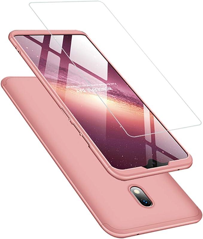 Funda Xiaomi Redmi 8A Carcasa Cristal Templado 360 Grados Caja 3 en 1 PC Case-Oro Rosa: Amazon.es: Electrónica