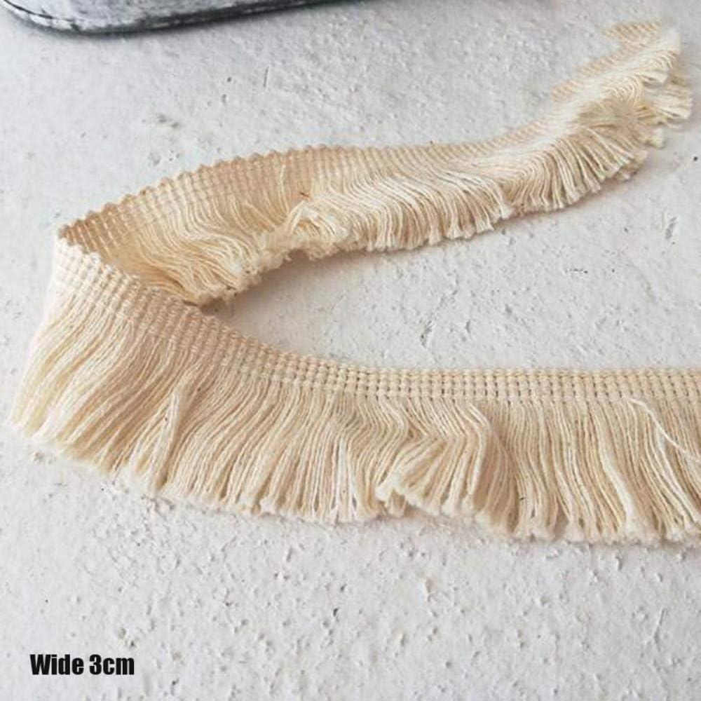 DACCU 3 cm Wide Fashion Beige bordado flor encaje tejido Trim cinta costura DIY aplique cuello flecos lazo lazo gu/ías Decor