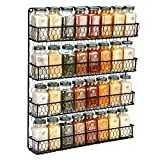 Chicken Wire Spice Rack [4 Tier] Wall Mounted Spice Rack Organizer, Rural Style Spice Organizer, Spice Rack Wall Mount (Black)