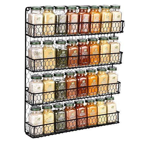 (Spice Rack Wall Mounted Spice Rack Organizer Chicken Wire Rural Style Spice Organizer Spice Rack Wall Mount ... (4 tier Black Spice Rack))