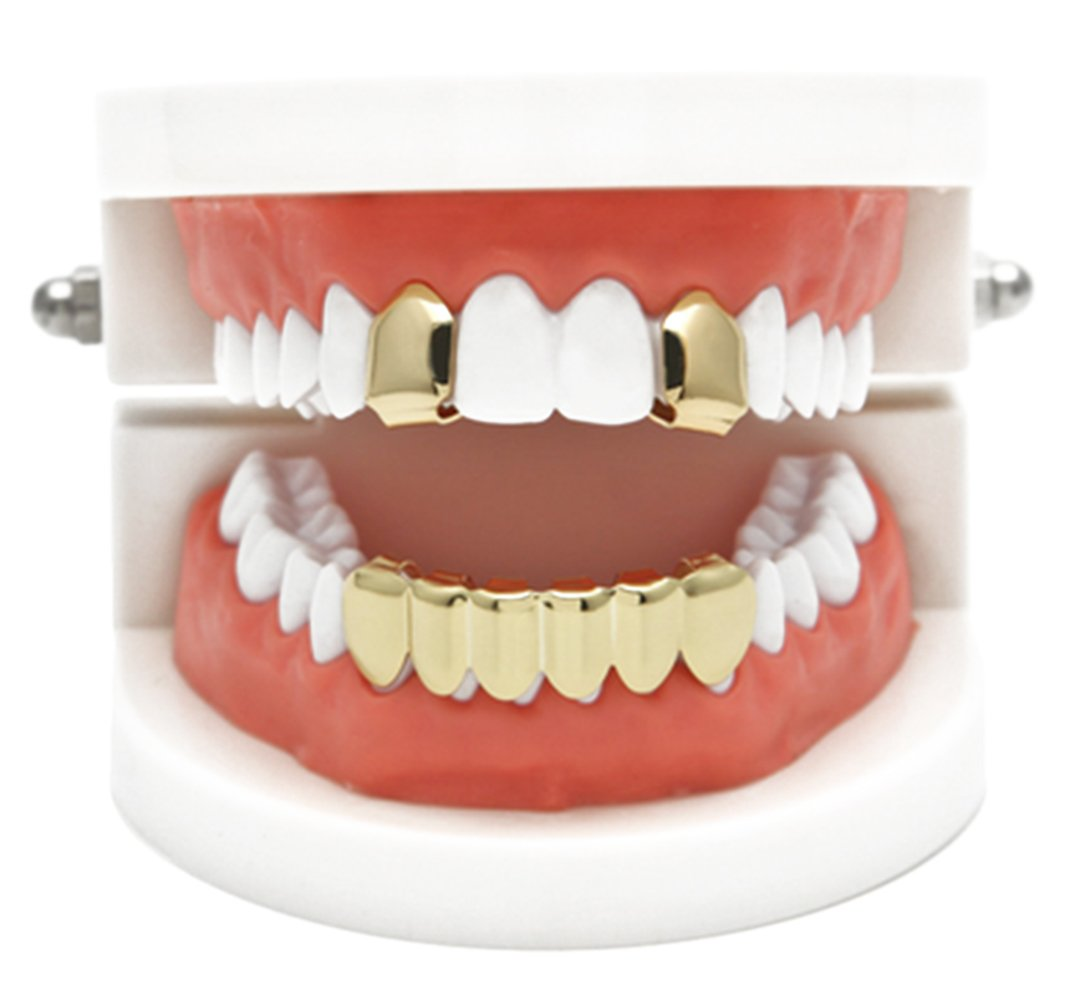 Gold Grillz Best Gift for Son-New Custom Fit 14k Plated Gold, Silver, Rose Gold Grillz - Excellent Cut for All Types of Teeth - Top and Bottom Grill Set Charly Shop G-010-011