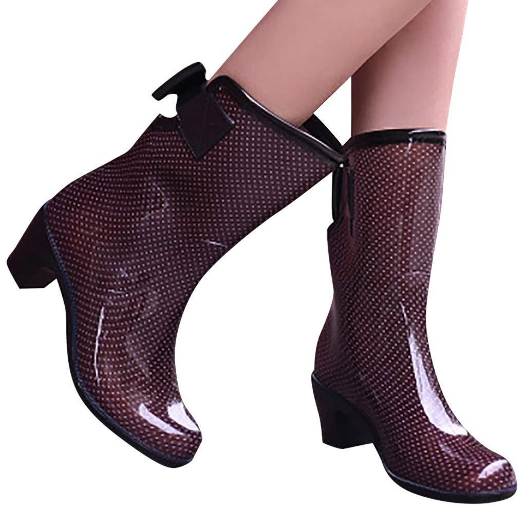 Womens Waterproof Printed Mid Calf Rubber Rain Boots Low-Heeled Middle Tube Elastic Chelsea Rain Booties (US:6 (36), Brown) by Dasuy