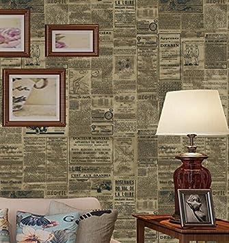 Poowef Wallpaper Amerikanisches Englisch Alte Zeitung Tapete Retro Nostalgie Western Restaurant, Kleidung Shop, Coffee Shop, Arbeitszimmer, Hintergrundbild, 0,53*10 M, S