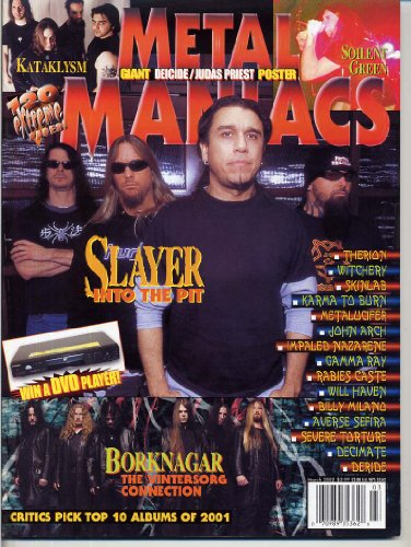 Metal Maniacs Magazine SLAYER Einherjer JUDAS PRIEST Isis DEICIDE Naglfar DECEASED Kataklysm GIANT POSTERS March 2002