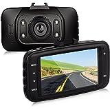 Btopllc On Dash Video Dash Cam Full HD 1080P with G-Sensor Car Video Audio Recording 120 Degree Angle View Car DVR Vehicle Camera Traffic Dashboard Camcorder Dash Cam -Support TF Card - Black