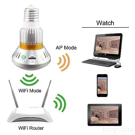 Ancho Ángulo Fisheye WiFi IP Hidden Cámara Bombilla LED Luz 960P HD Cámara De Seguridad Interior