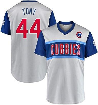 44 Tony Cubs Camiseta de béisbol para Hombres, Uniforme de béisbol Camisetas de béisbol para Hombres Juego de Manga Corta Uniforme del Equipo Sudadera con Botones S-3XL: Amazon.es: Ropa y accesorios