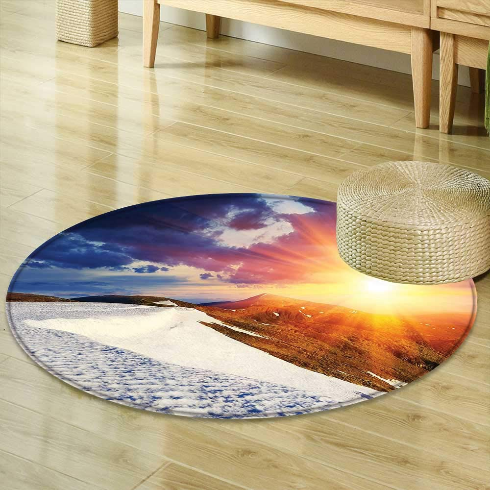 Mikihome Round Area Rug Boho Decor Sunshine Clouds Nature Mountain and Valley Sun Divider in College Landscape Home White Blue Yellow Indoor/Outdoor Round Area Rug R-35