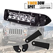 "Turbo SII 30W Mini Series 7"" Inch Led Light bar Single Row Work Light Driving Fog Light Spot Beam 2700lm 400m Visibility Off Road LED Lights Driving Lights for Jeep Cabin Boat SUV Truck Atv"