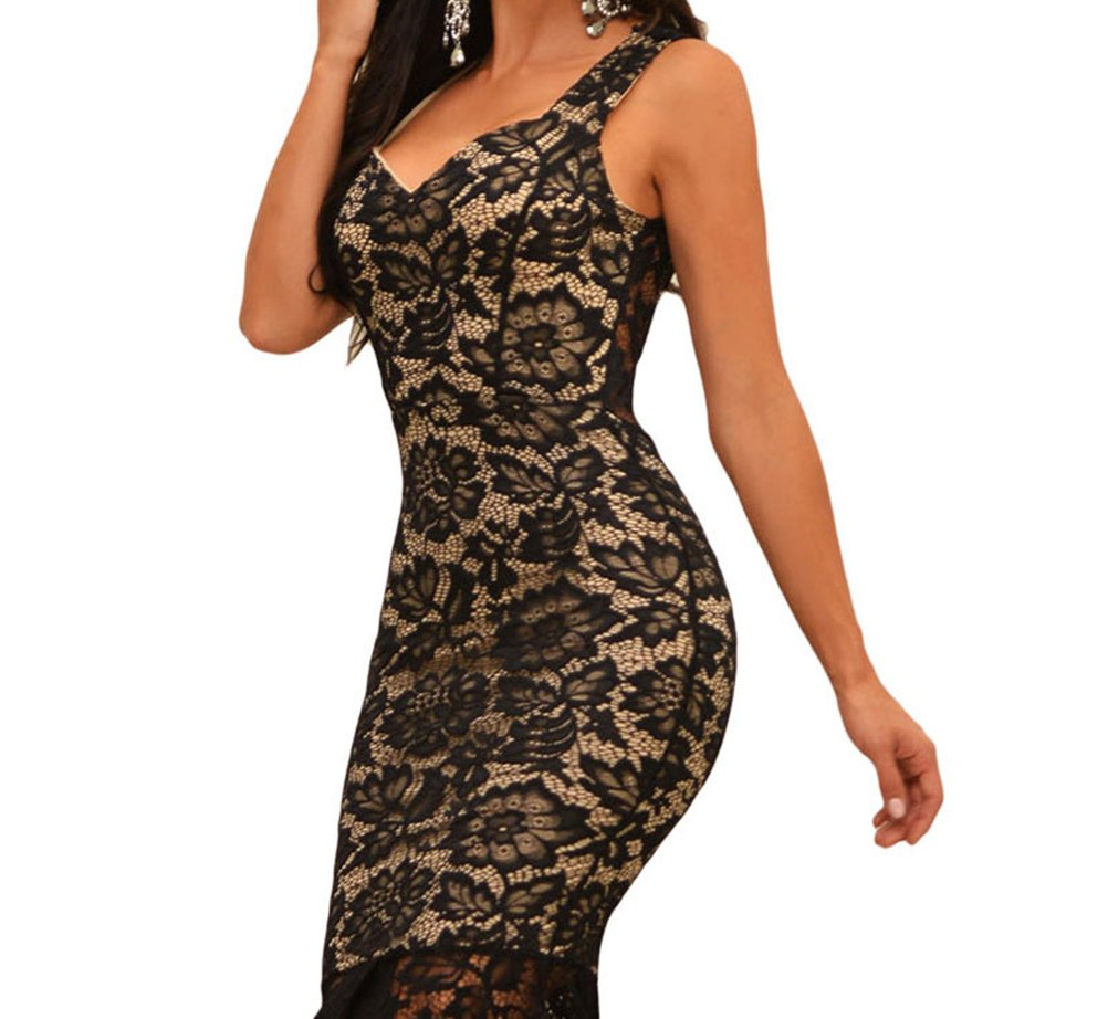 BYY Black Lace Nude Illusion Fishtail Party Dress(Size,S) by BYY