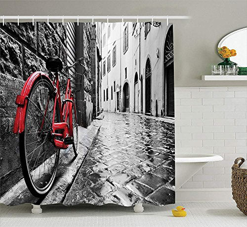 Douglas Hill Bicycle Decor Collection Classic Bike on Cobblestone Street in Italian Town Leisure Charm Artistic Photo Polyester Fabric Bathroom Shower Curtain,118.95