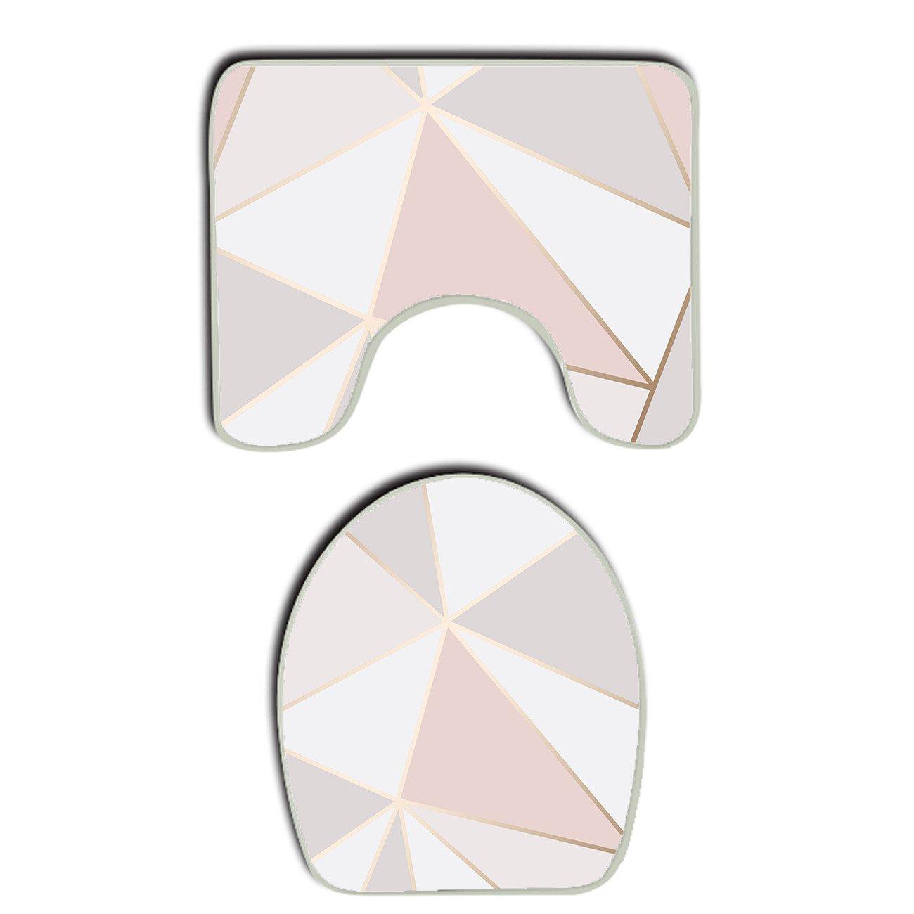 AMERICAN TANG Rose Gold Geometric mirror Pattern Bathroom Carpet Rug, Non-Slip 2 Piece Bathroom Mat Set Decoration