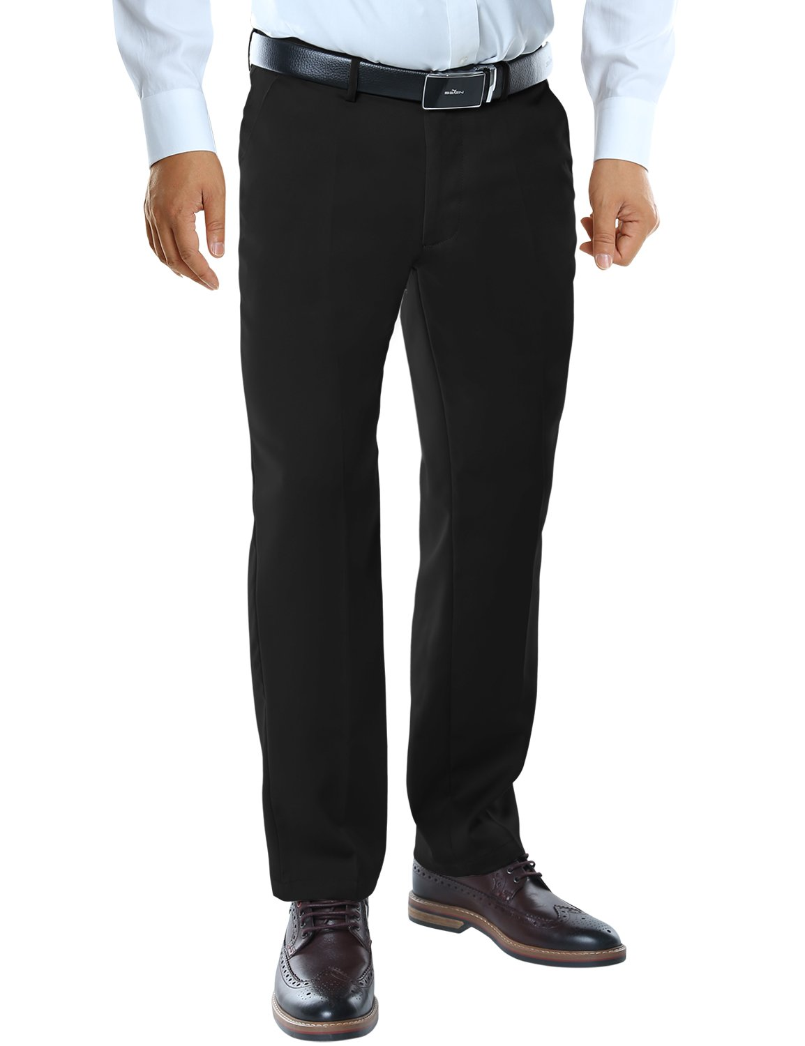 Match Mens Straight Fit No-Iron Plain Front Dress Pants M2(32W x 32L, 8088 Black)