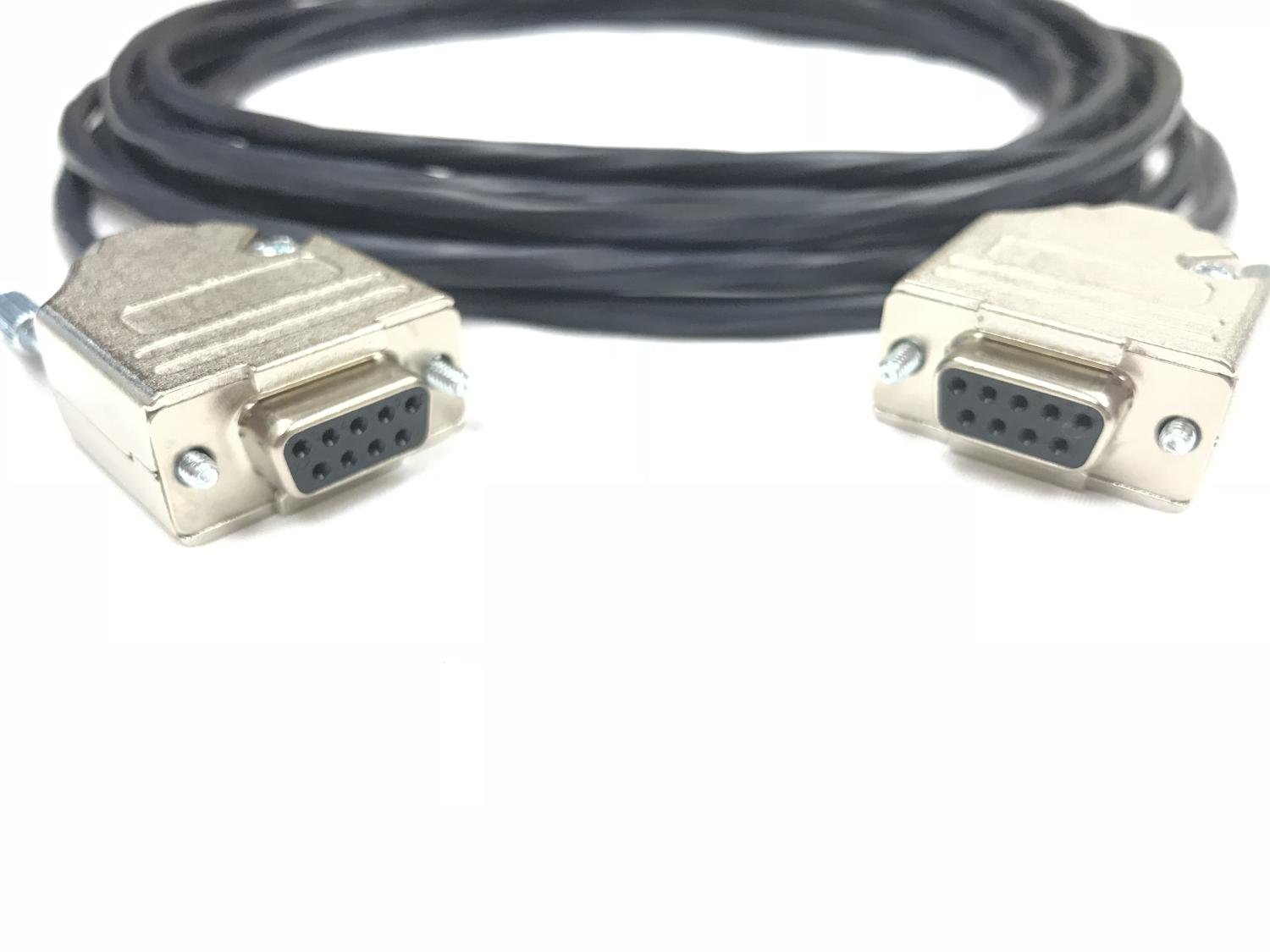 200 Foot DB9 Female to Female 22 AWG Plenum Black Jacket Serial Cable Made in USA by Custom Cable Connection