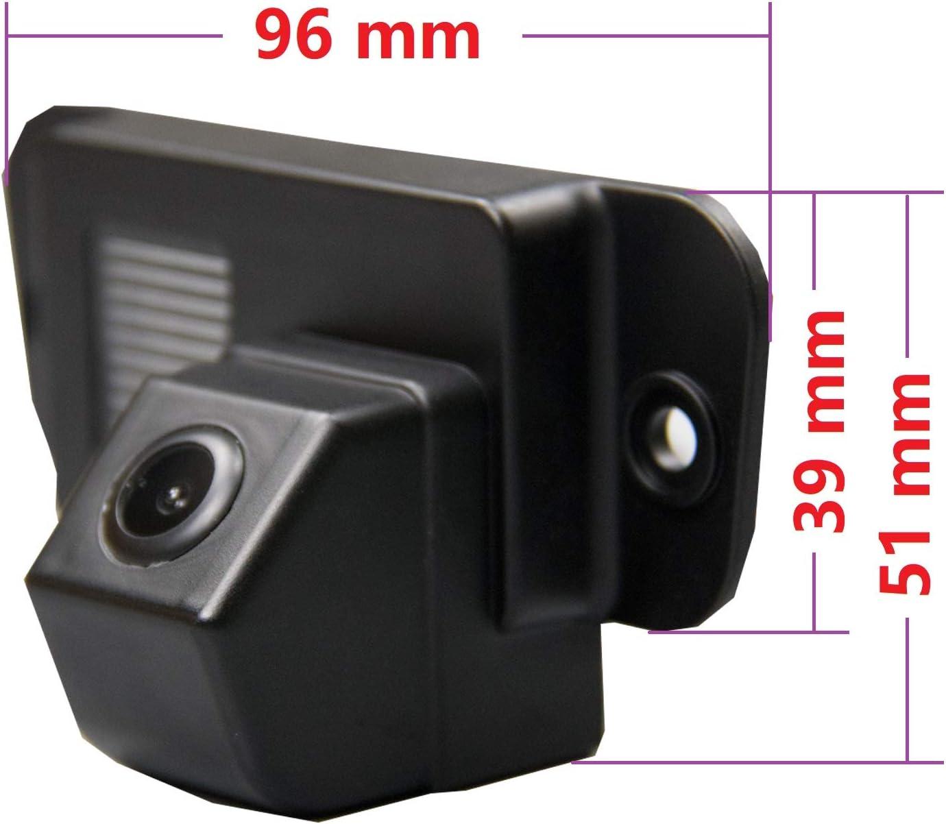 RCA Telecamera di retromarcia HD 720p per monitor universali per Ssangyong Rodius Stavic Korando REXTON W Kyron colore: nero