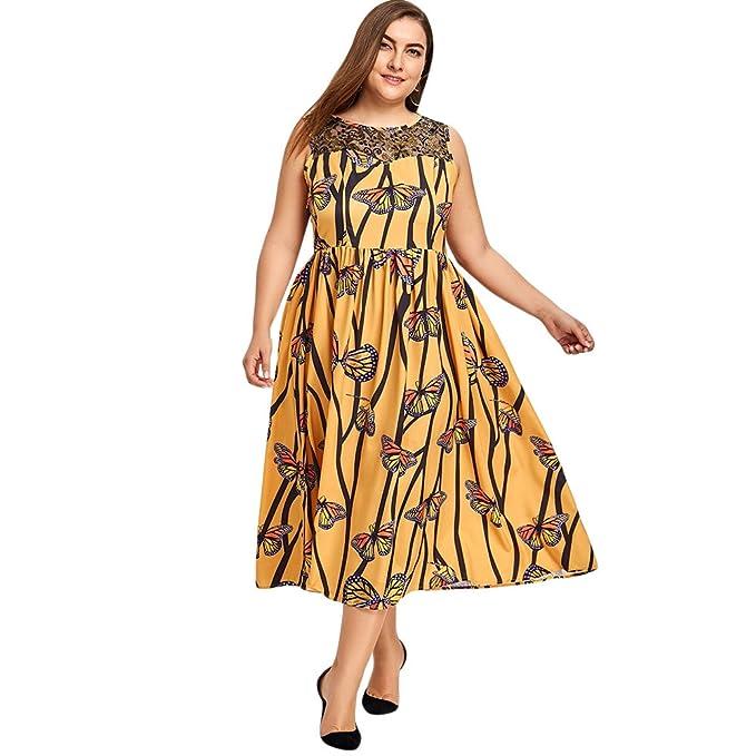 Vestido Mujer Elegante Impresión Mariposa de Fiesta Vestido Vintage Encaje Floral sin Mangas Tallas Grandes,
