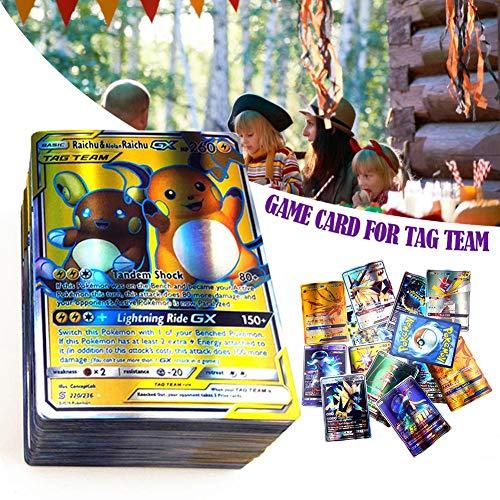 cary-yan 120 pcs Poke Cards TCG Style Card, Mega Cards, Includes 80 Tag Team Card 20 Mega Cards 20 Ultra Beast GX Children's Visual Perception Skills Development Cards for Mega Cards GX Cards Tag here (Pokemon Ex Cards For 5 Dollar)