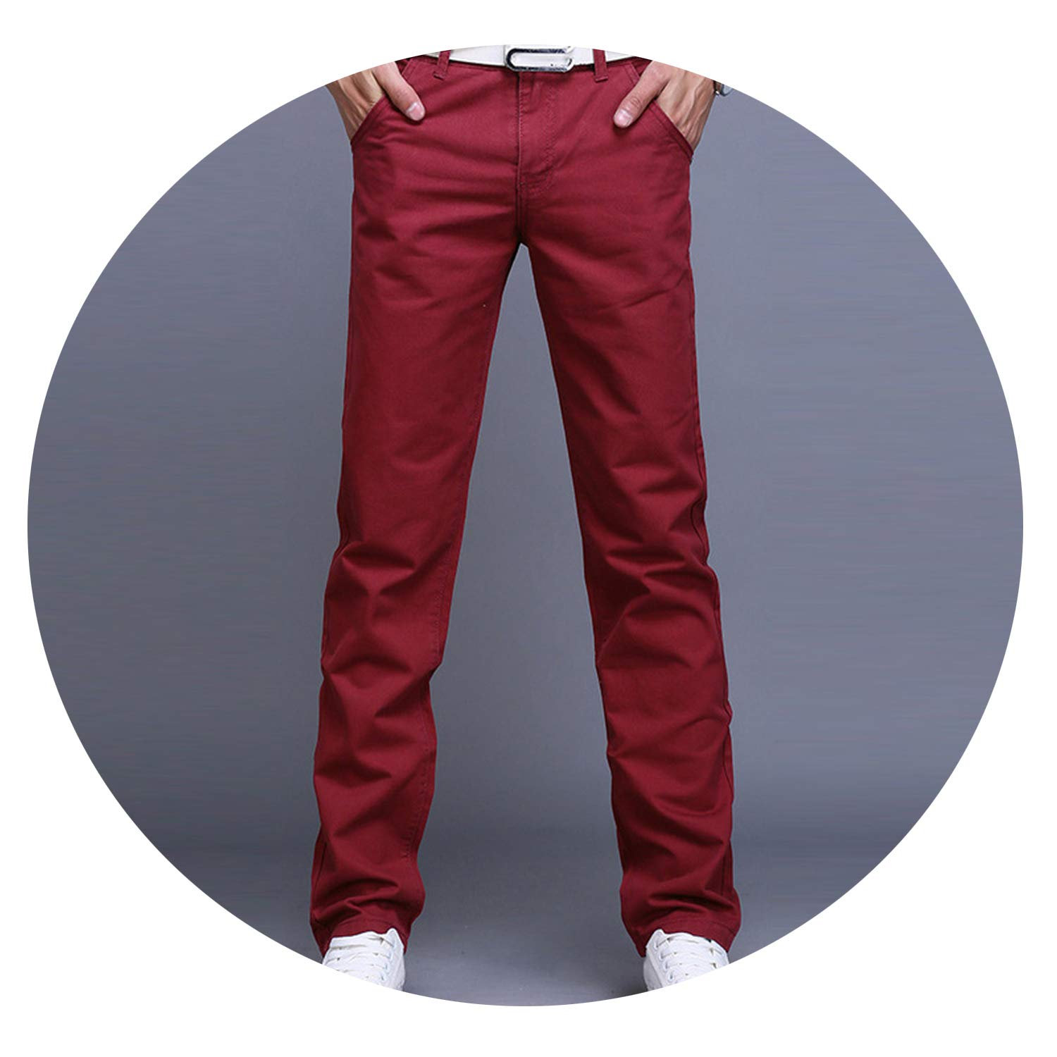 Fashion Men Business Casual Pants Cotton Slim Straight Spring Summer Long Pants,Wine Red,38