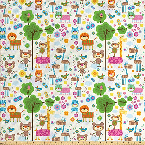 Ambesonne Kids Fabric by the Yard, Happy Friendly Jungle Animals Giraffe Monkey and Butterfly Trees Flowers Zoo Nature, Decorative Fabric for Upholstery and Home Accents, (Monkey Upholstery Fabric)