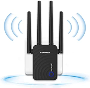 WiFi Extender, AC1200 WiFi Range Extender Up to 1200Mbps 2.4GHz & 5.8GHz Dual Band Wireless Signal Booster WiFi Repeater Wireless Access Point with External Antennas - Extending WiFi to Whole Home