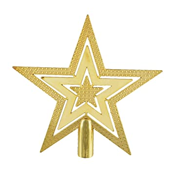 souarts gold color stars christmas ornaments for christmas tree top decoration 15cm pack of 5pcs