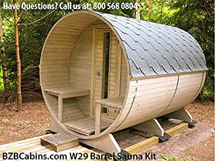 Marvelous Barrel Sauna Kit BZBCabins.com W29, 4 Person Outdoor Sauna With Harvia M3  Wood