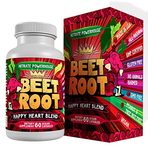 Organic Beet Root Powder Capsules with Grape Seed Extract, Ginseng – Happy Heart Blend – USA Grown Beetroot