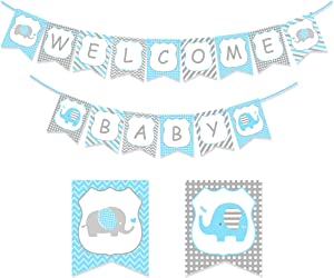 KREATWOW Welcome Baby Banner Blue Gray for Baby Shower Little Peanut Nursery Decorations