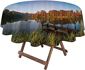 Round Outdoor Tablecloth Scenery Decor for Dining Room and Party Lake View Fishing Countryside Themed with Trees and Long Reeds Art Photo 36
