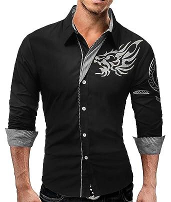 Jofemuho Men Shirts Casual Button Down Printed Long Sleeve Slim Fit Dress Work Shirt